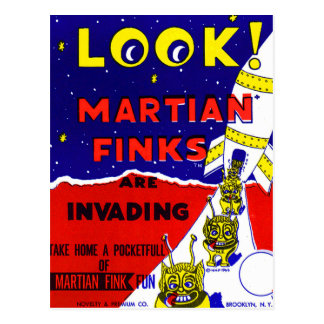 Kitsch Vintage Candy Martian Finks Postcard