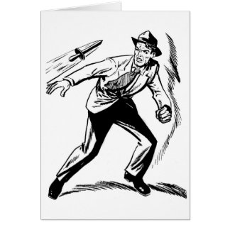 Kitsch Vintage Comic Detective Dodging the Dagger Card