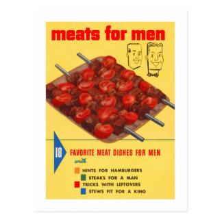 Kitsch Vintage Food 'Meats For Men' Cook Book Postcard