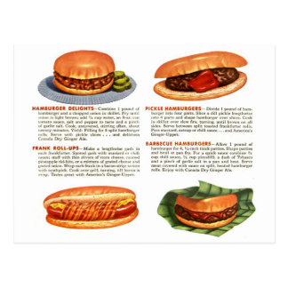 Kitsch Vintage Hamburgers & Hot Dogs! Postcard