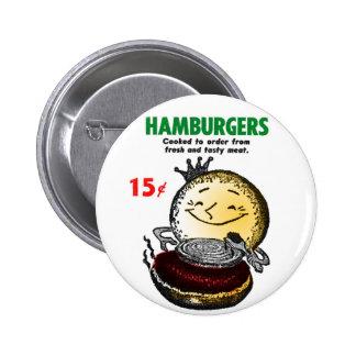 Kitsch Vintage Hamburgers 'Only 15¢' 2 Inch Round Button