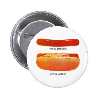 Kitsch Vintage Hot Dog 'Weiners & Buns' 2 Inch Round Button