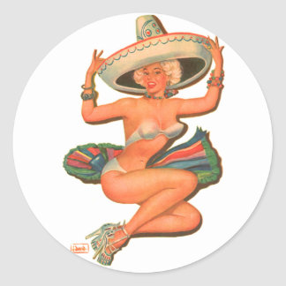 Kitsch Vintage 'Hot Salsa' Pin-Up Girl Classic Round Sticker