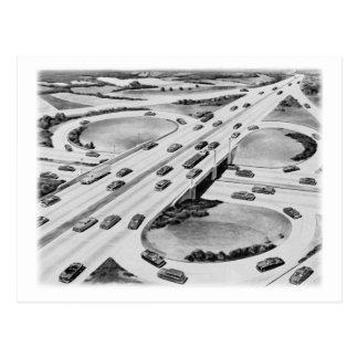 Kitsch Vintage Interstate Cloverleaf Postcard