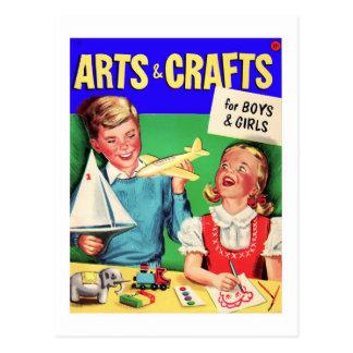 Kitsch Vintage Kid's 'Arts & Crafts' Book Postcard