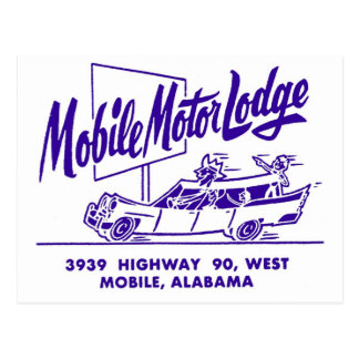 Kitsch Vintage Mobile Motor Lodge Motel Postcard