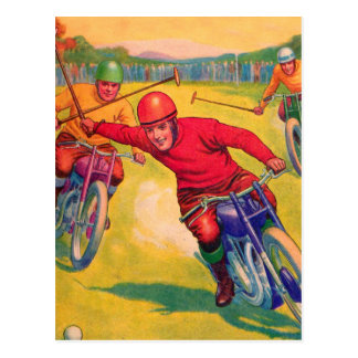 Kitsch Vintage Odd Sports 'Motorcycle Polo' Postcard