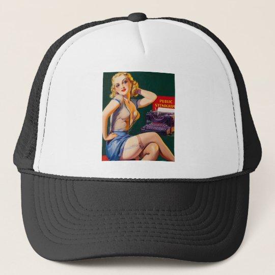 Kitsch Vintage 'Public Stenographer' Pinup Girl Trucker Hat