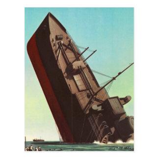 Kitsch Vintage Pulp War 'Sinking Ship' Postcard