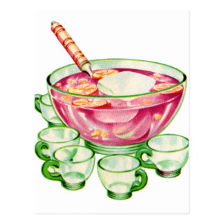 Kitsch Vintage Retro 60s Spiked Punch Bowl & Cups Postcard