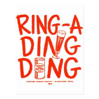 Kitsch Vintage Ring-a-Ding Ding Beer Time Ad Postcard