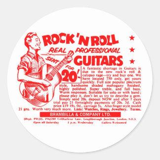 """Kitsch Vintage Rock N' Roll 'Guitars, 20 Quid!"""" Round Sticker"""