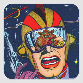 Kitsch Vintage Sci-Fi Space Ranger Shooter Square Sticker