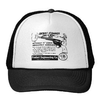 Kitsch Vintage Toy Pistol Ad Smoking Gun Trucker Hat