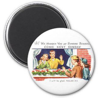 Kitsch Vintage We Missed You Sunday School 2 Inch Round Magnet