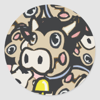 Kitschy Pop Art Dairy Moo Cow In Retro Style - Classic Round Sticker