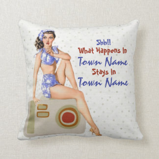 """Kitschy Retro Pinup """"What Happens Stays"""" Throw Pillow"""