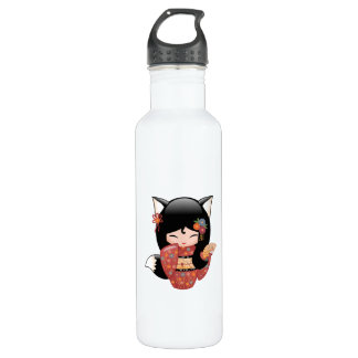 Kitsune Kokeshi Doll - Black Fox Geisha Girl 710 Ml Water Bottle