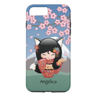 Kitsune Kokeshi Doll - Black Fox Geisha Girl iPhone 8 Plus/7 Plus Case