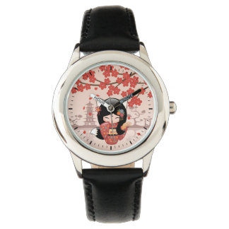Kitsune Kokeshi Doll - Black Fox Geisha Girl Wrist Watches
