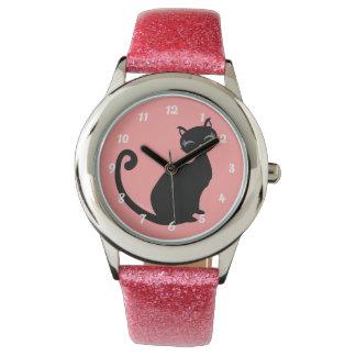 Kitteh Lurve - Black Kitty Custom Color Background Watch