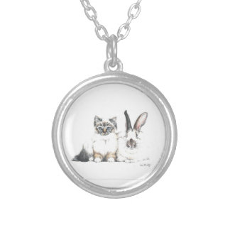 Kitten and Bunny Silver Plated Necklace