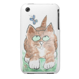 Kitten and Butterfly iPhone 3 Cases