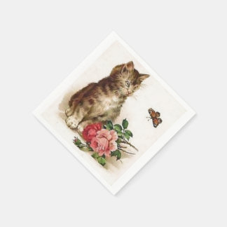 Kitten and Butterfly Paper Napkin
