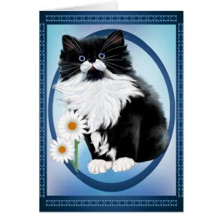 Kitten and Daisy Oval Card