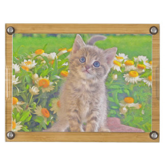 Kitten and Flowers Round Cheeseboard