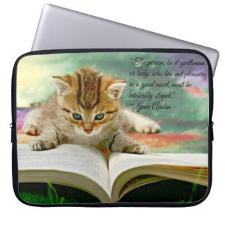 Kitten and Funny Jane Austen Quote Laptop Cover Computer Sleeve