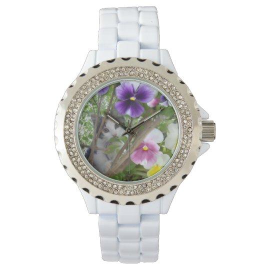 Kitten_And_Pansies_White_Sparkle_Watch. Watch
