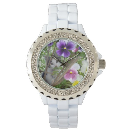 Kitten_And_Pansies_White_Sparkle_Watch. Wrist Watches