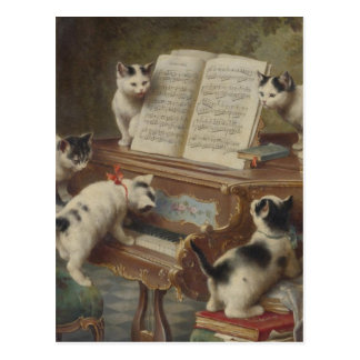 Kitten and piano postcard