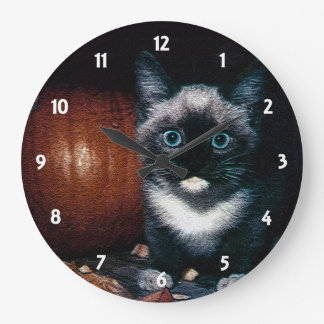 Kitten and Pumpkin for Halloween Large Clock