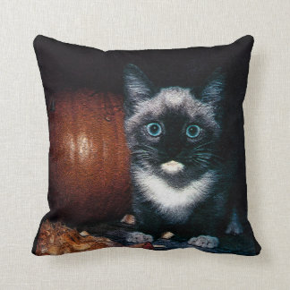 Kitten and Pumpkin for Halloween Throw Pillow