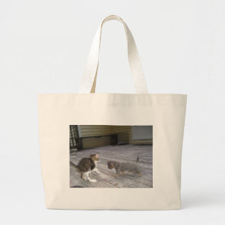 Kitten and Pup Large Tote Bag