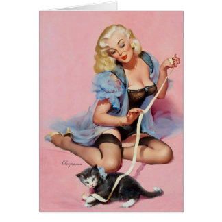 Kitten and Vintage Pinup Birthday Card