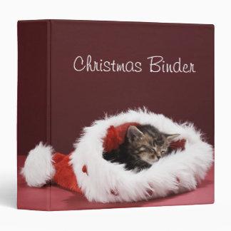 Kitten asleep in Christmas hat Vinyl Binders