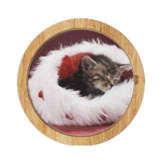 Kitten asleep in Christmas hat Rectangular Cheeseboard