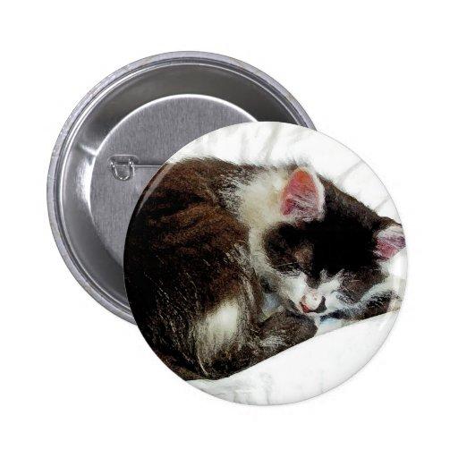 Kitten asleep on White Comforter Pinback Buttons