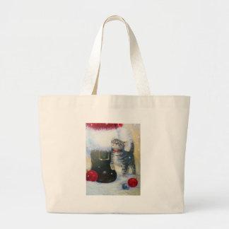 Kitten at Santa's Boot Large Tote Bag