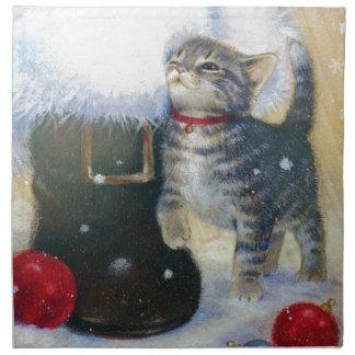 Kitten at Santa's Boot Napkin