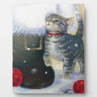 Kitten at Santa's Boot Plaque