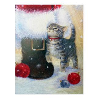 Kitten at Santa's Boot Postcard