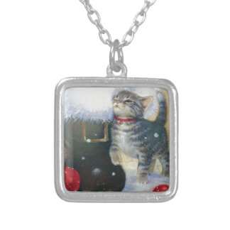 Kitten at Santa's Boot Silver Plated Necklace