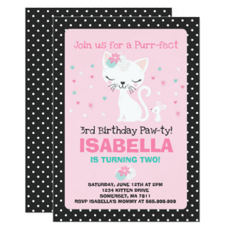 Kitten Birthday Invitation Kitty Cat Birthday