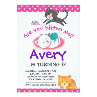 Kitten Birthday Invitation, Pet adoption party Card