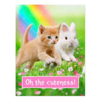 Kitten & Bunny with Rainbow Postcard