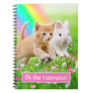 Kitten & Bunny with Rainbow Spiral Notebook